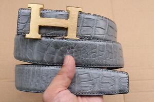 Gray Genuine Alligator Crocodile Belly Leather Skin Men's Belt - W 1.5 inch