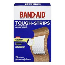 2 PACK Band-Aid Brand Adhesive Bandages Tough Strips Extra Large 10 ea