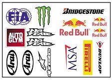 Racing Stickers Sheet / Red Bull Monster Dunlop MSA / Car Decals / Sticker Bomb