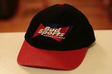 Rare Vintage Bud Sports Productions Leather Strapback Hat Cap Budweiser Beer