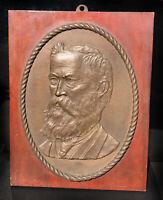Antique Original Bronze Relief Sculpture Late 1800's Walthall Dinwiddie 12lbs