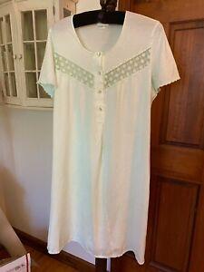 EUC HANRO Night gown pajamas 1pc Women's Mint Green M Medium Knee/calf Length