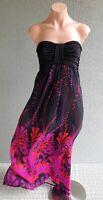 💜 SHEIKE Summer Strapless Maxi Dress Black Print Size 10 Buy7=FreePost L809