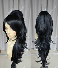 Women Long Black Wavy Curly Hair Cosplay League of Legends LOL Nidalee Full Wigs