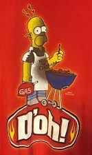 The Simpsons Homer Simpson Men Tee T Shirt Kiss The Chef Grill Cook Red