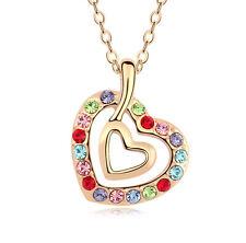 18K  GOLD GP Made With Swarovski Crystal Heart Star Flower NECKLACE pendant