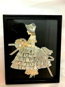 RIBBON, LACE, PAPER LAYERED COLONIAL / ART DECO LADY'S GOWN BLUE, FRAMED NICE