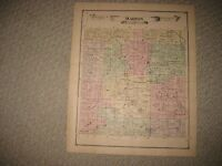 ANTIQUE 1875 MARION TOWNSHIP LIVINGSTON COUNTY MICHIGAN HANDCOLORED MAP RARE NR