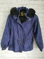 SKEA PARIS/VAIL Women's SuedeMark Hooded Insulated Ski Jacket w/Fur Trim  SZ 8