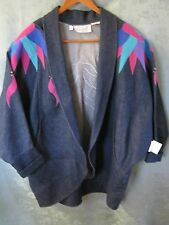 Pat Hardison Blue Jean Denim Jacket Size Large Studded Open-Front Patchwork