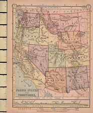 C1860 mappa vittoriana ~ Stati del Pacifico e territori altezze di terra