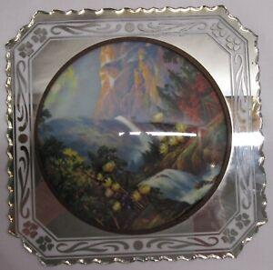 GORGEOUS-Vintage-Dome Glass Straw Flower Art on Mirror-MIAMI FLORAL PLAQUES