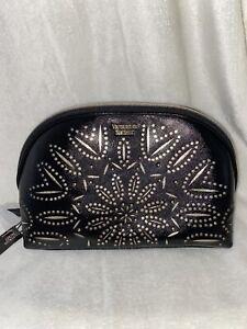 Victoria's Secret Travel Bag Case Black Make Up Cosmetic Laser Cut Floral Glam