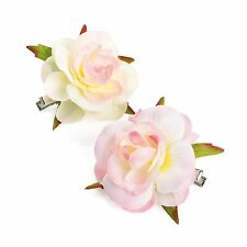 2x ROSE FLOWER HAIR CLIPS GIRLS/WOMENS CLIPS ROSES HAIR CLIP SMALL FLOWER CLIPS