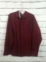 Eddie Bauer Mens Size XL Brushed Flannel Button Down Shirt Burgandy