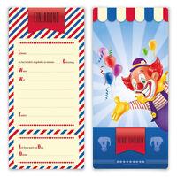 Einladungskarten Kindergeburtstag Jungen Mädchen 8 Stück   Zirkus Clown  Ticket