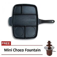 Multi Pan Non-Stick Multi-Section 5-in-1 Frying Pan with Mini Chocolate Fountain