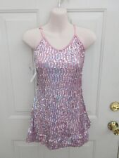 Pink Silver Sequin Dress Dance Costume Large Child LC 12 14 NWT
