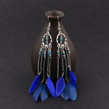 Blue Feather Tassel Drop Dangle Earrings Charm Vintage Women Bohemian Boho Long