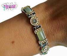 LADIES STRONG BIO MAGNETIC SILVER & GOLD ALLOY HEALING BRACELET GREEN & CLEAR