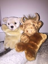 """FAITHFUL FRIENDS 10"""" COW AND BEAR- HAND/GLOVE  PUPPETS - VERY GOOD CONDITION"""