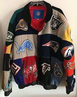 NFL Reebok Jeff Hamilton All Teams Wool/Leather Coat W/ STAINS Men's SZ 6X