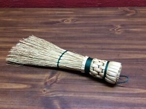 Large Straw Whisk Brush Green Thread 13 Inches