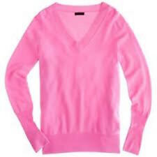 J.Crew 100% Cashmere v-neck sweater tee  heather pink Womens size S Worn Once