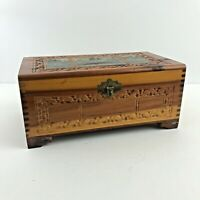 VTG Carved Wooden Jewelry Trinket Box Decoupage Country Cottage Scene Mirror