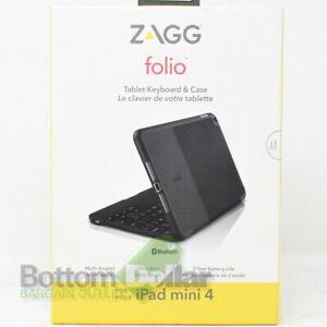 Zagg IM4ZFN-BB1 Ultra Slim Folio Tablet Keyboard & Case for iPad Mini 4 Black