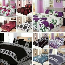 4Piece PCS Complete Bed Sets Duvet Cover Fitted Sheet sizes (single,double,king)