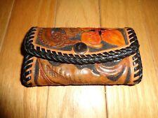 Vintage Western Hand Tooled Leather Bi-fold Key Ring Holder