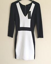 French Connection Textured Navy & White Body Con Dress UK 8