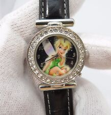 TINKERBELL, Jeweled Case, Black Face & Band, Very Cute Lady's/Girl's WATCH, 1742