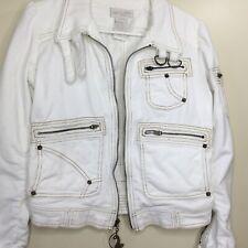 Baby Phat Jean Co White Cotton Corduroy Womens Jacket w/ Multiple Pockets  Sz S
