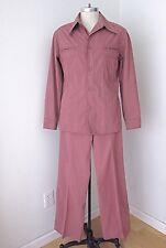 Vtg 70s Purple Cotton Disco Pimp Superfly 2-Pc Leisure Suit BIG Flare Pants 42