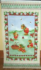 """1 Cute """"Strawberry Bears"""" Cotton Quilting/Wallhanging Fabric Panel"""