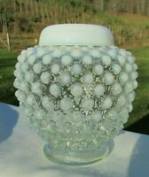 "Fenton 30's French Opalescent Hobnail Ginger Jar & Lid ""Wrisley Salts""4.5""Hx4""W"