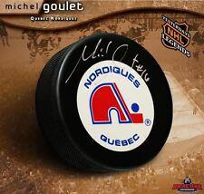 MICHEL GOULET Signed Quebec Nordiques Puck
