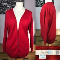 Boden Red Cardigan Size UK 18 100% Wool Longline V-Neck Pockets