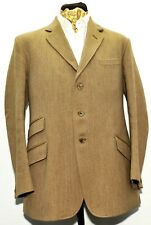 Superb Foxley Beige Keepers Tweed Heavyweight Suit 44 R 38 W