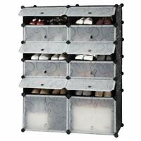 6 Tier Shoe Rack Storage Drawer Shelf 12 Cube Unit Organizer Cabinet Doors