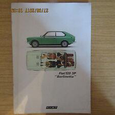Fiat 128 3P 1100 1300 Berlinetta folleto de ventas de coche original de mercado del Reino Unido 1975-1976