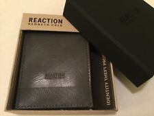 NEW!  REACTION KENNETH COLE MENS BIFOLD LEATHER WALLET  GREY RFID PROTECTION!