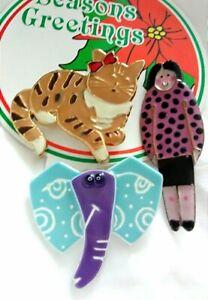 Vintage Folk Art Brooch Pin Lot NEW Tabby Cat Enamel CLOISONNE Elephant
