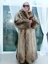 LUXE REAL FINNISH RACCOON FOX FUR  UNISEX COAT SIZE M-L