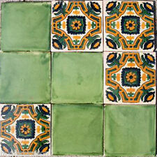 SET #094) 9 MEXICAN TILES CERAMIC TALAVERA MEXICO HAND MADE DECORATIVE ART