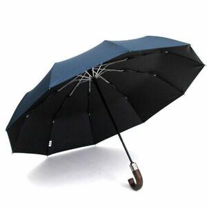 Men Umbrella Anti UV Wooden Handle Glassfiber Coating Golf Sun Rain Protect Tool