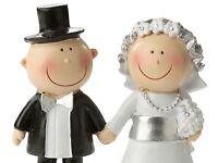 Silberhochzeit Deko Figur, Brautpaar Silberhochzeit, Silber Hochzeitstorte 8,7cm