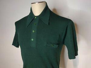 Vtg 60s Mohawk Bon Lon Polo Shirt Forest Green Medium VLV Rockabilly Rat Pack